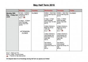 May Half Term Schedule