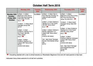 October Half Term 2016 Activities