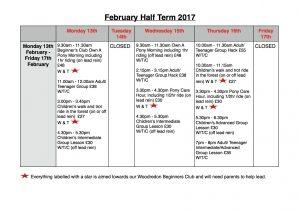 February Half Term 2017