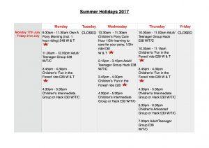 Summer Holidays: Monday 17th July - Friday 21st July