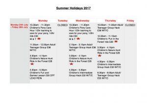 Summer Holidays: Monday 24th July - Friday 28th July