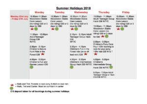 Summer Holiday Activities: Monday 23rd July - Friday 27th July