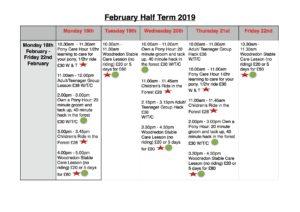 February Half Term Schedule