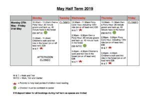 Children's May Half Term Schedule 2019