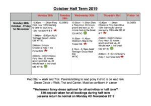 October Half Term 2019 Children's Activities